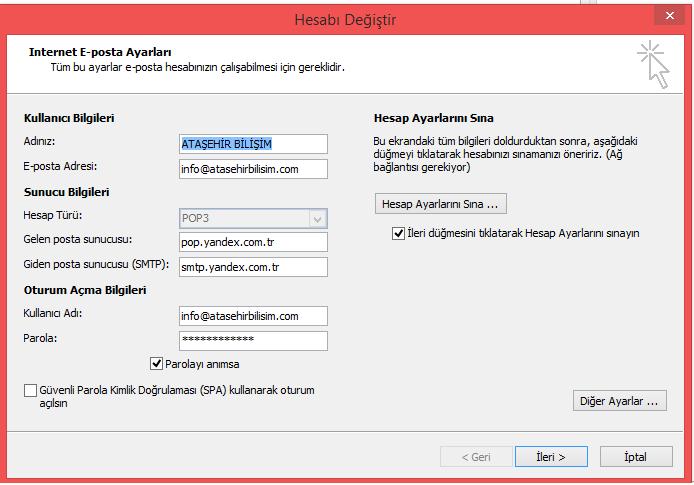 Yandex Mail IMAP ve POP3 Ayarları